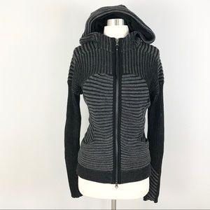 Lululemon 10 Embrace Knit Hoodie Jacket Black Gray